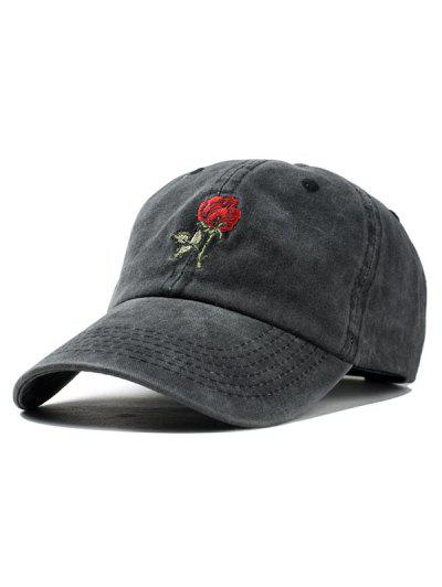 Embroidered Rose Baseball Cap - Black