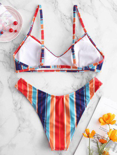 ZAFUL Colorful Striped Bikini Set, Multi-a