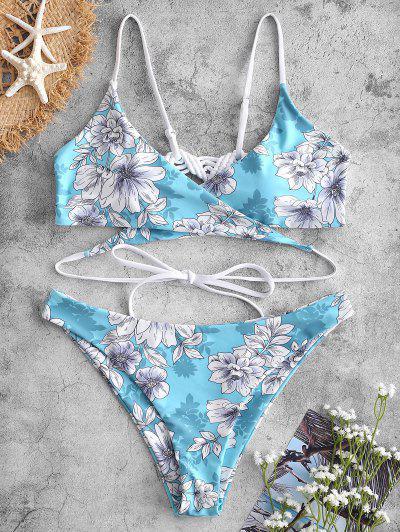 ZAFUL Macrame Floral Wrap Bikini Set - Light Aquamarine S