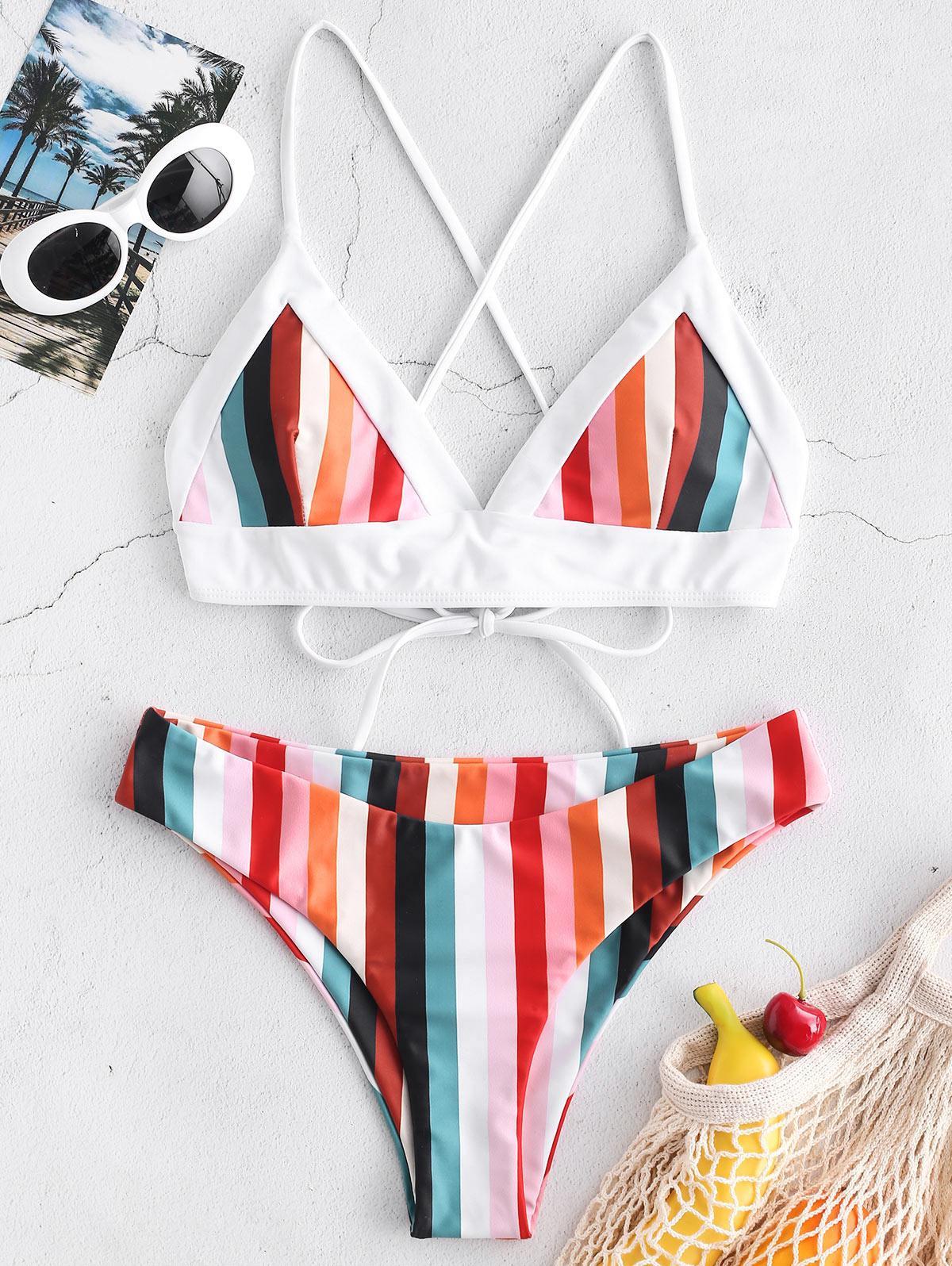ZAFUL Colorful Striped Criss Cross Bikini Set, Multi-a