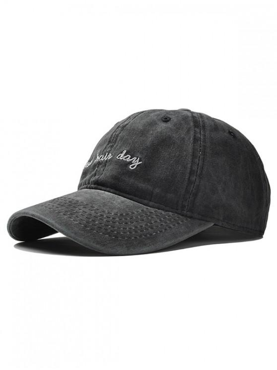 fancy Adjustable Embroidery Baseball Cap - BLACK