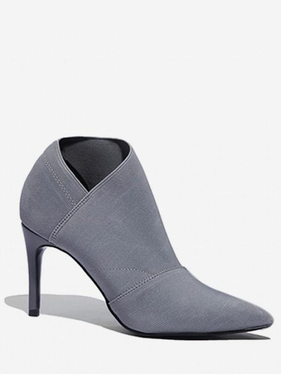trendy Pointed Toe Sock Ankle Boots - BLUE GRAY EU 35