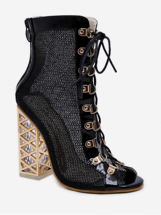 women's Peep Toe Lacing Chunky Heel Boots - BLACK EU 36