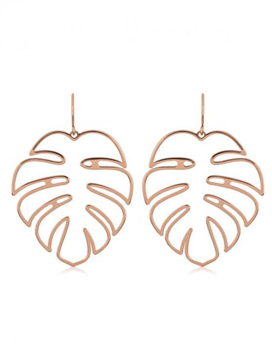 Boucles d'Oreilles Evidées en Forme Feuille de Palmier - Or