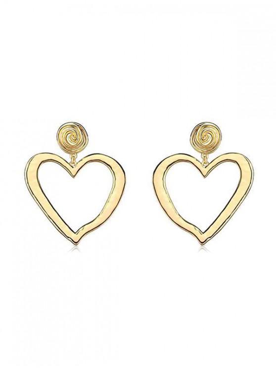 Boucles d'Oreilles Evidées Pendantes en Forme de Cœur - Or