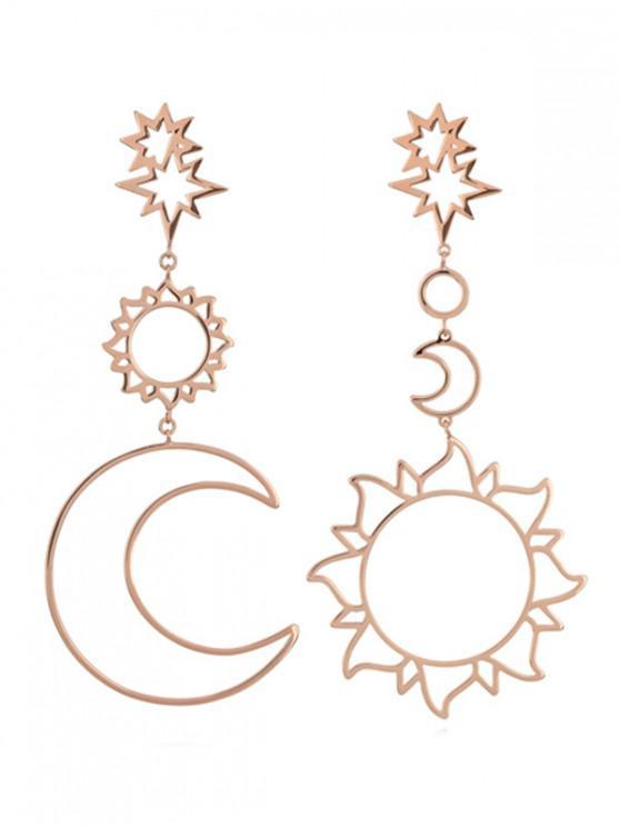 Brincos Dangle Sun Moon Hollow - Rosa Ouro