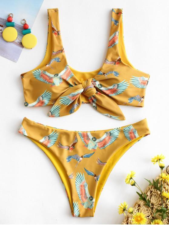 women's ZAFUL Eagles Print Tie Front Bikini Set - GOLDENROD L