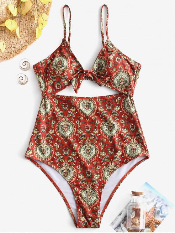 online ZAFUL Retro Floral Tied Cut Out Swimsuit - MULTI-A L