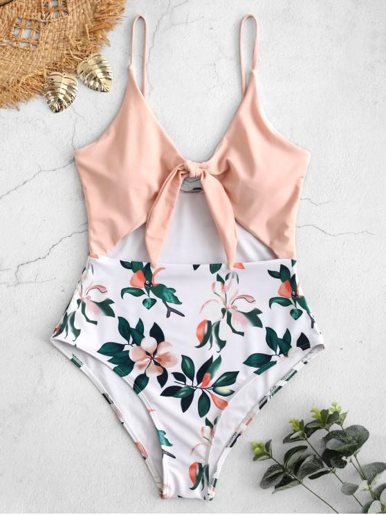 online ZAFUL Plant Knot Cut Out Swimsuit - DEEP PEACH S