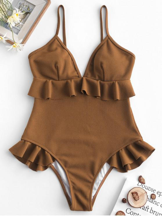 ladies ZAFUL Ribbed Ruffle Cami Swimsuit - COFFEE L