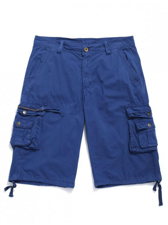 fashion Multi-pocket Solid Color Casual Shorts - BLUEBERRY BLUE 40