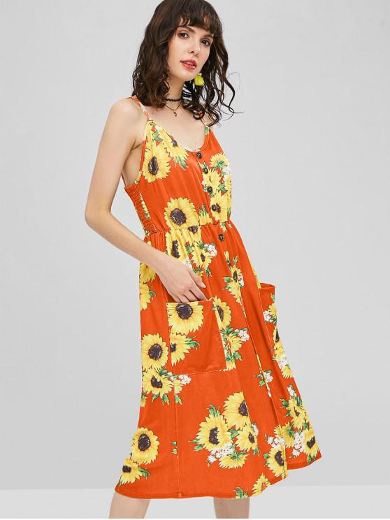 sale Button Sunflower Print Midi Dress - HALLOWEEN ORANGE L