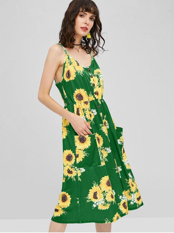 fancy Button Sunflower Print Midi Dress - JUNGLE GREEN L
