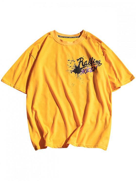 Cartas de pintura de impresión geométrica camiseta casual - Amarillo Brillante 2XL
