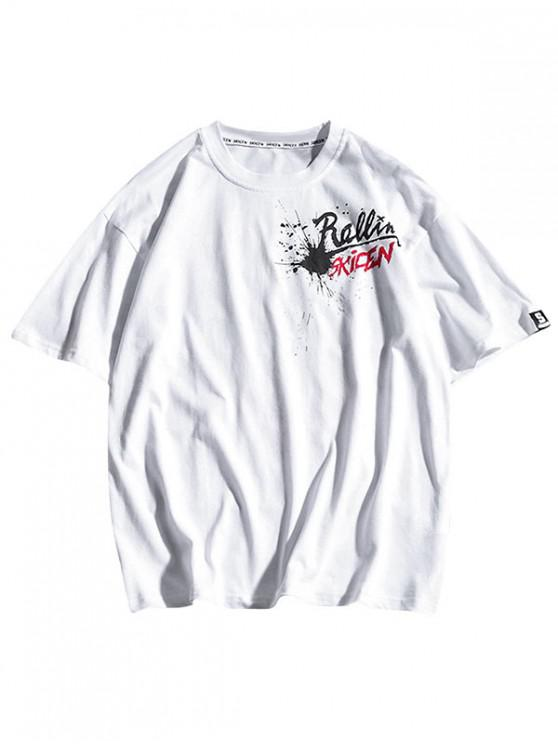 buy Letters Painting Geometric Print Casual T-shirt - WHITE 2XL