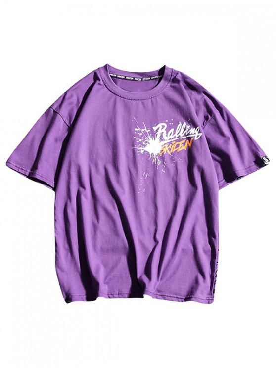 Cartas de pintura de impresión geométrica camiseta casual - Flor Púrpura L