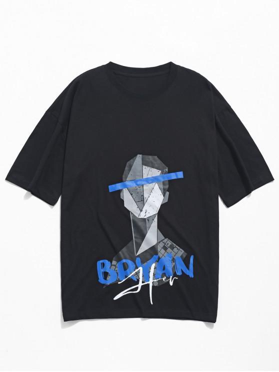 hot Geometric Character Pattern Print Short Sleeves T-shirt - BLACK 2XL