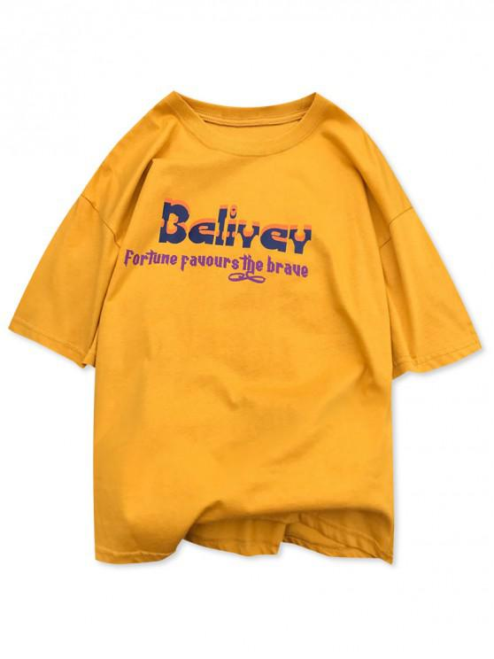 buy Letters Character Pattern Print Graphic T-shirt - BEE YELLOW 2XL