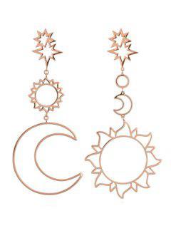 Sun Moon Hollow Dangle Earrings - Rose Gold