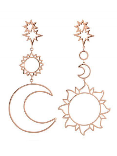 women's Sun Moon Hollow Dangle Earrings - ROSE GOLD  Mobile