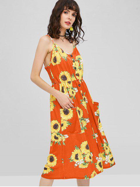 women's Button Sunflower Print Midi Dress - HALLOWEEN ORANGE S Mobile