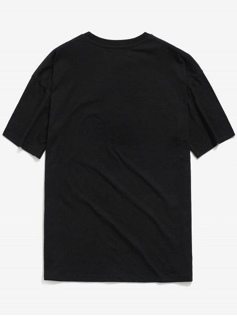 T-shirt Décontracté Lettre Graphique Imprimée Dessin Animé - Noir M Mobile