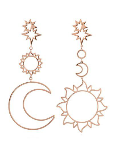 Sun Moon Hollow Dangle Earrings - Rose Gold