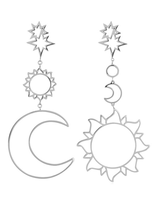 Sun Moon Hollow Dangle Earrings
