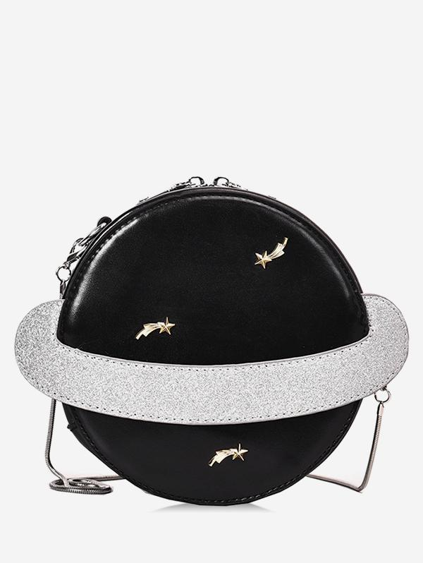 Planet Shape Round Shoulder Bag, Black