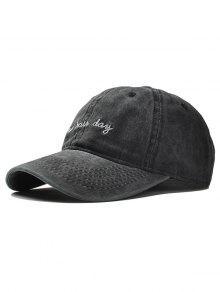 قابل للتعديل التطريز قبعة بيسبول - أسود