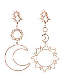 أقراط إسقاط شكل الشمس والقمر الجوفاء - وارتفع الذهب