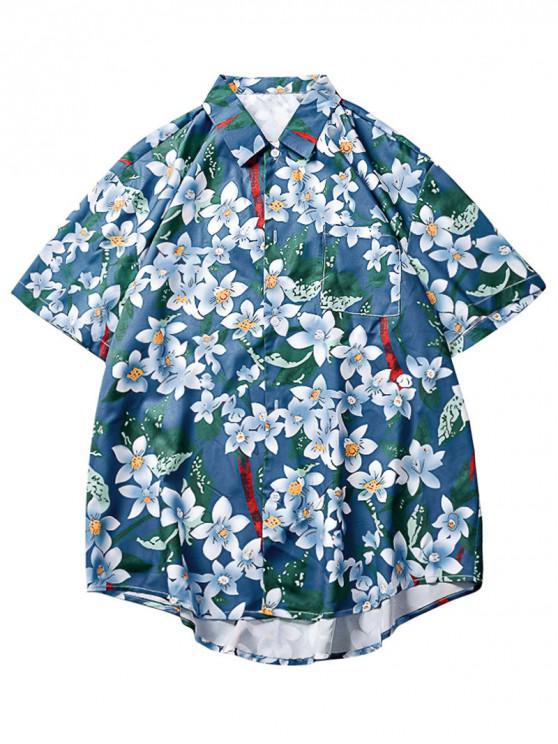 80779d3c44 21% OFF] 2019 Allover Flowers Print Asymmetric Beach Shirt In OCEAN ...
