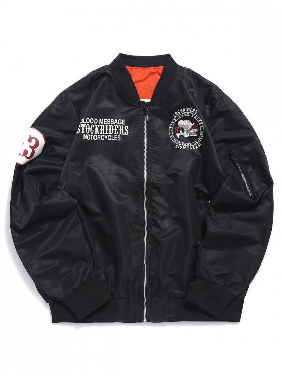 sale Letters Logo Print Casual Flight Jacket - BLACK S