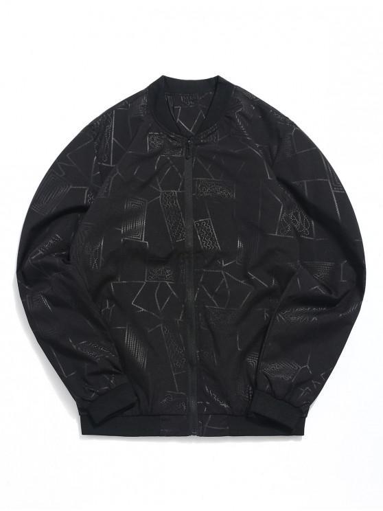 lady Geometric Print Zipper Casual Jacket - BLACK XS