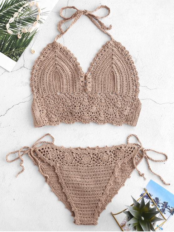 Bikini-Set mit Seitlicher Schnürung - Helles Khaki Eine Größe