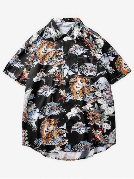 Tiere Grafik Print Casual Shirt - Multi 2XL