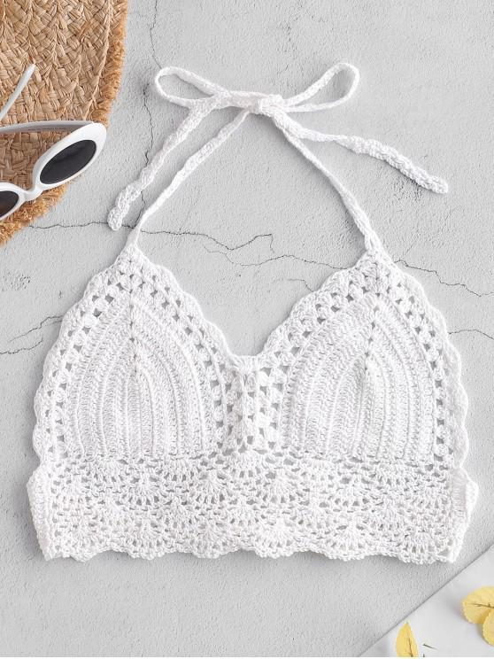 Top de bikini de espalda escotada de crochet - Blanco Talla única