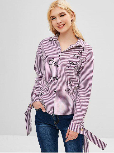 sale Sleeve Tie Striped Embroidered Shirt - MULTI S Mobile