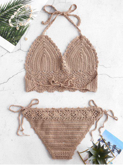 fashion Tie Side Crochet Bikini Set - LIGHT KHAKI ONE SIZE Mobile