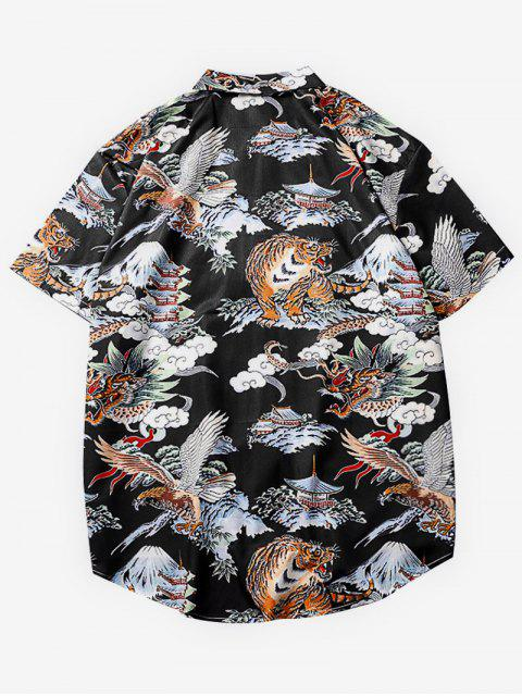 trendy Animals Graphic Print Casual Shirt - MULTI L Mobile