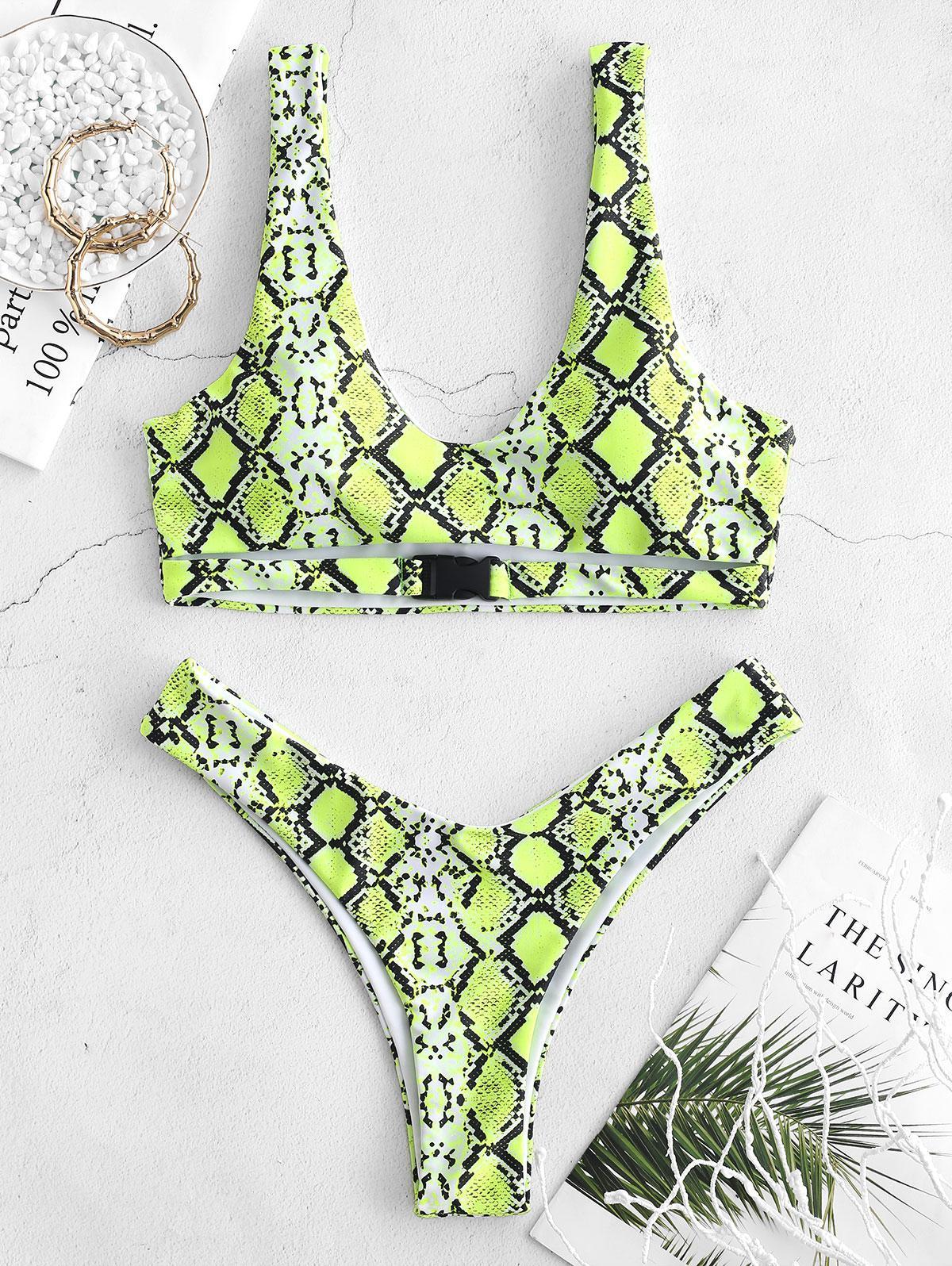 ZAFUL Snakeskin Animal Print Buckle Bikini Set, Multi-d