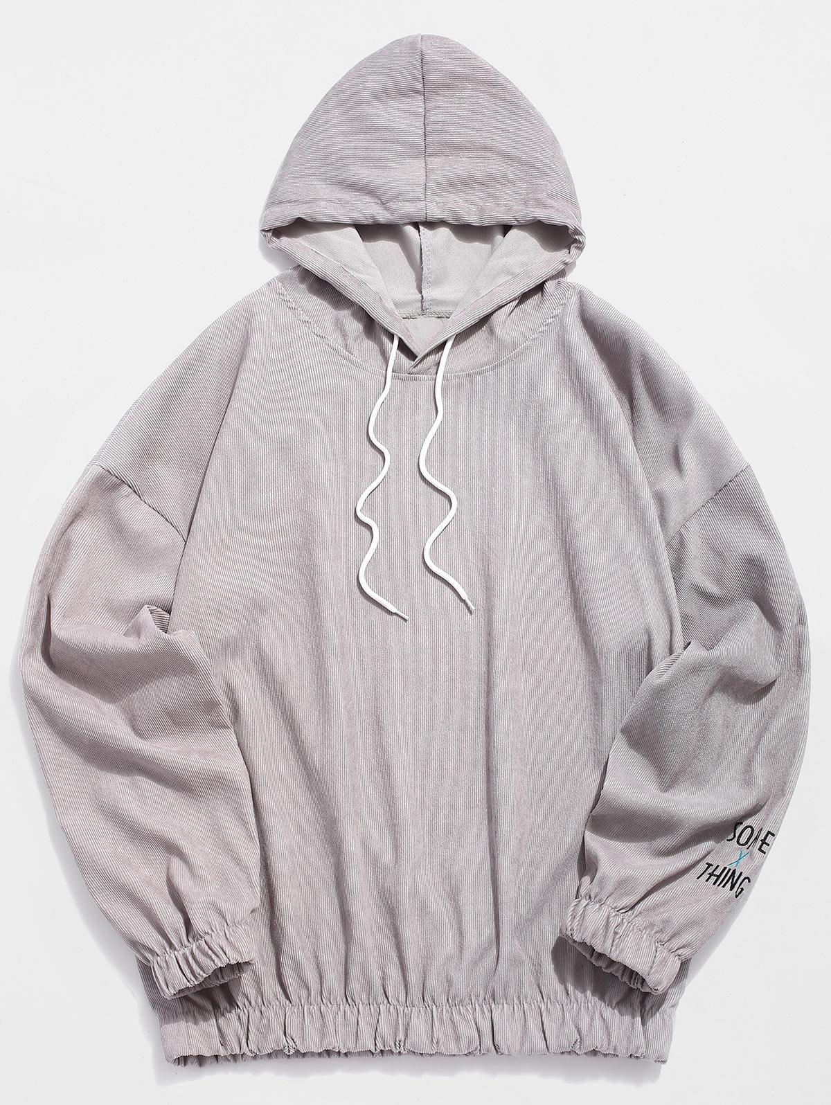 Applique Solid Color Casual Drawstring Hoodie