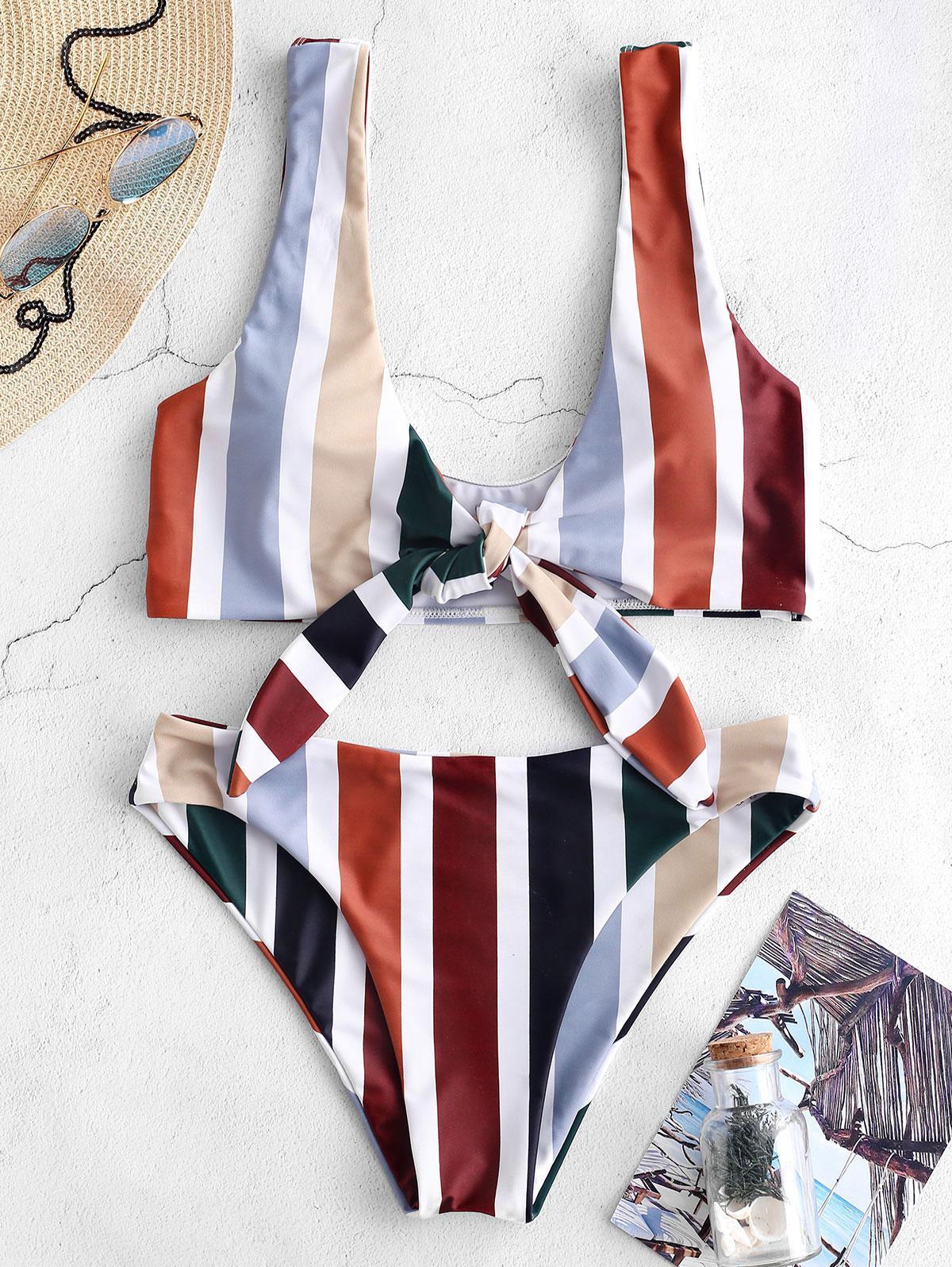 ZAFUL Colorful Striped Tie Front Bikini Set фото
