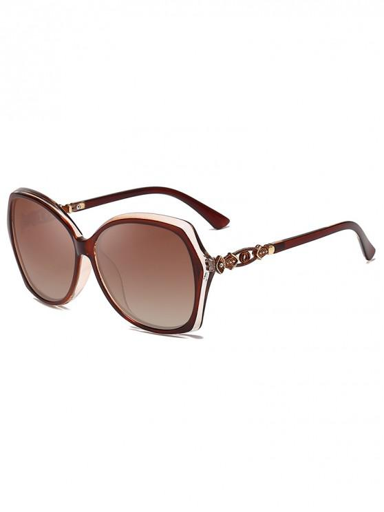 shops Hollowed Rhinestone Butterfly Frame Sunglasses - DEEP BROWN