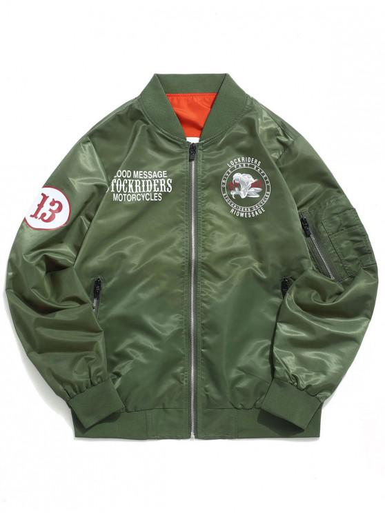 womens Letters Logo Print Casual Flight Jacket - ARMY GREEN XS