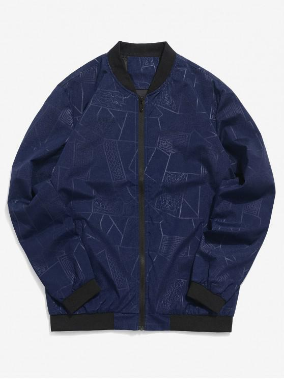 new Geometric Print Zipper Casual Jacket - DEEP BLUE XS