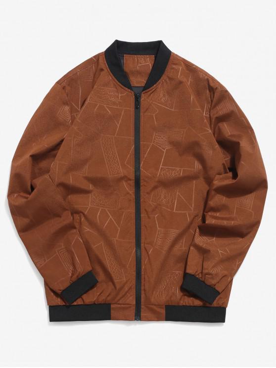 shops Geometric Print Zipper Casual Jacket - BROWN M