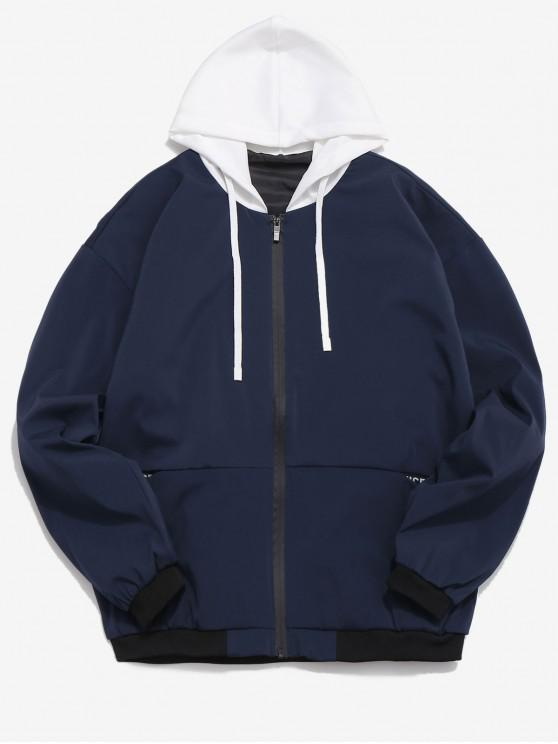 new Letters Stripes Painting Print Casual Hooded Jacket - DEEP BLUE M