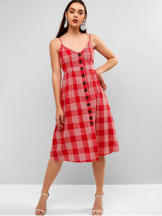 best ZAFUL Buttons Embellished Gingham Cami Dress - CHERRY RED L