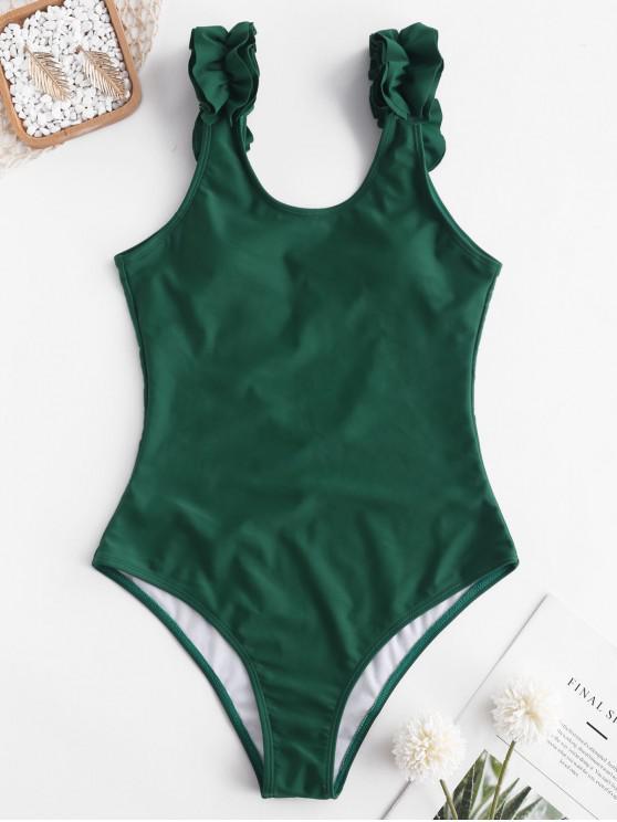 chic ZAFUL Ruffle Backless Swimsuit - JUNGLE GREEN S